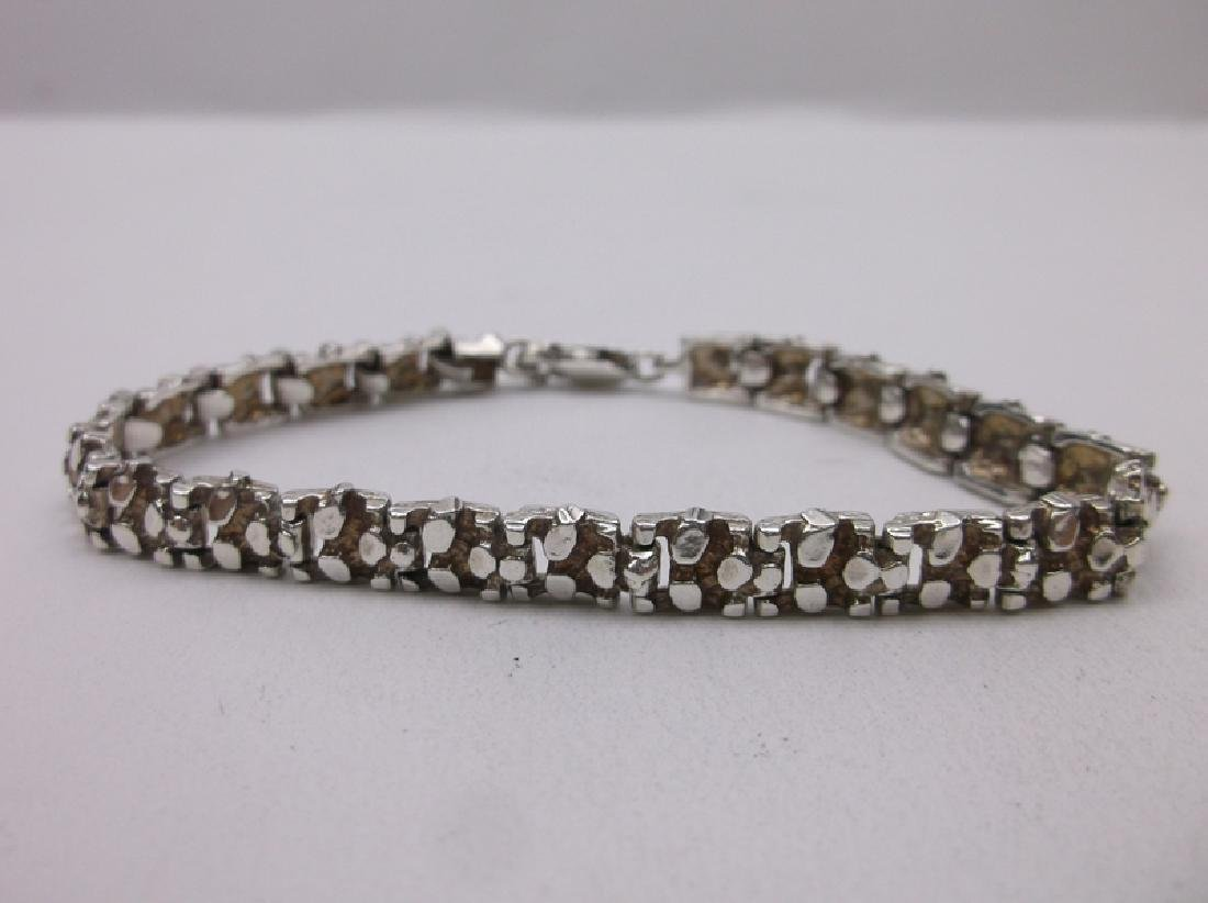 "Gorgeous Sterling Silver Nugget Link Bracelet 7.25"""
