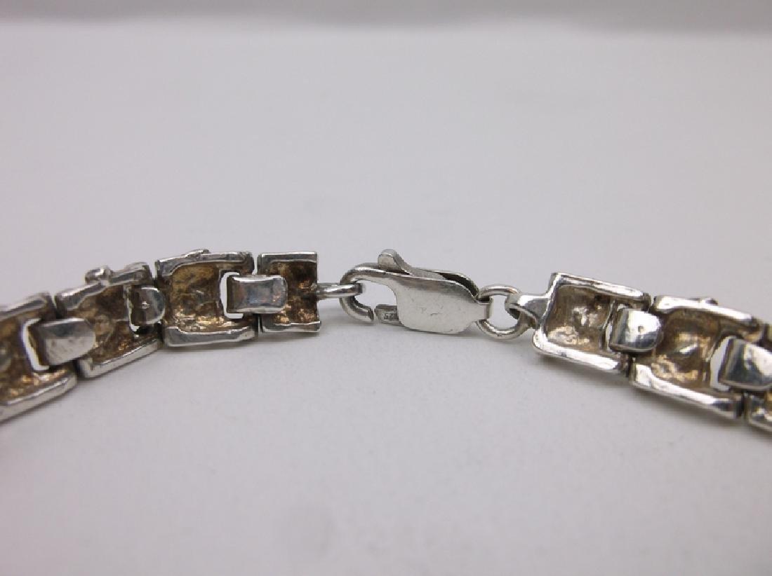 "Gorgeous Sterling Silver Nugget Link Bracelet 7.25"" - 2"