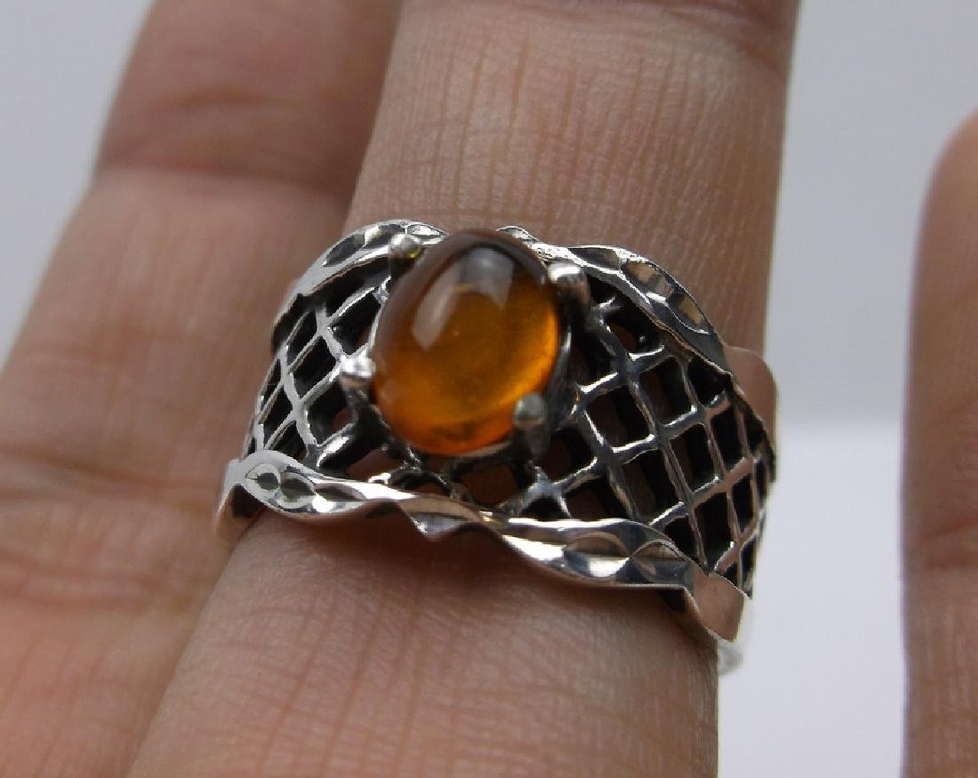 Stunning Sterling Silver Amber Ring 8 Vint