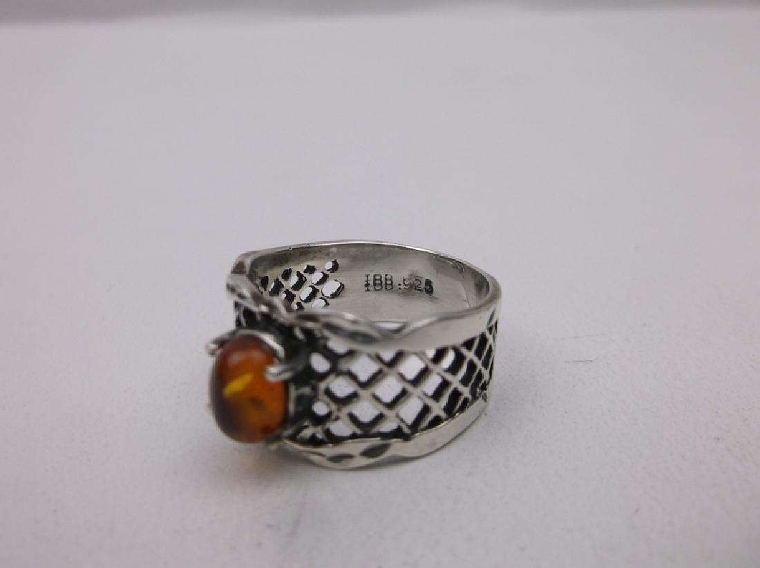 Stunning Sterling Silver Amber Ring 8 Vint - 2