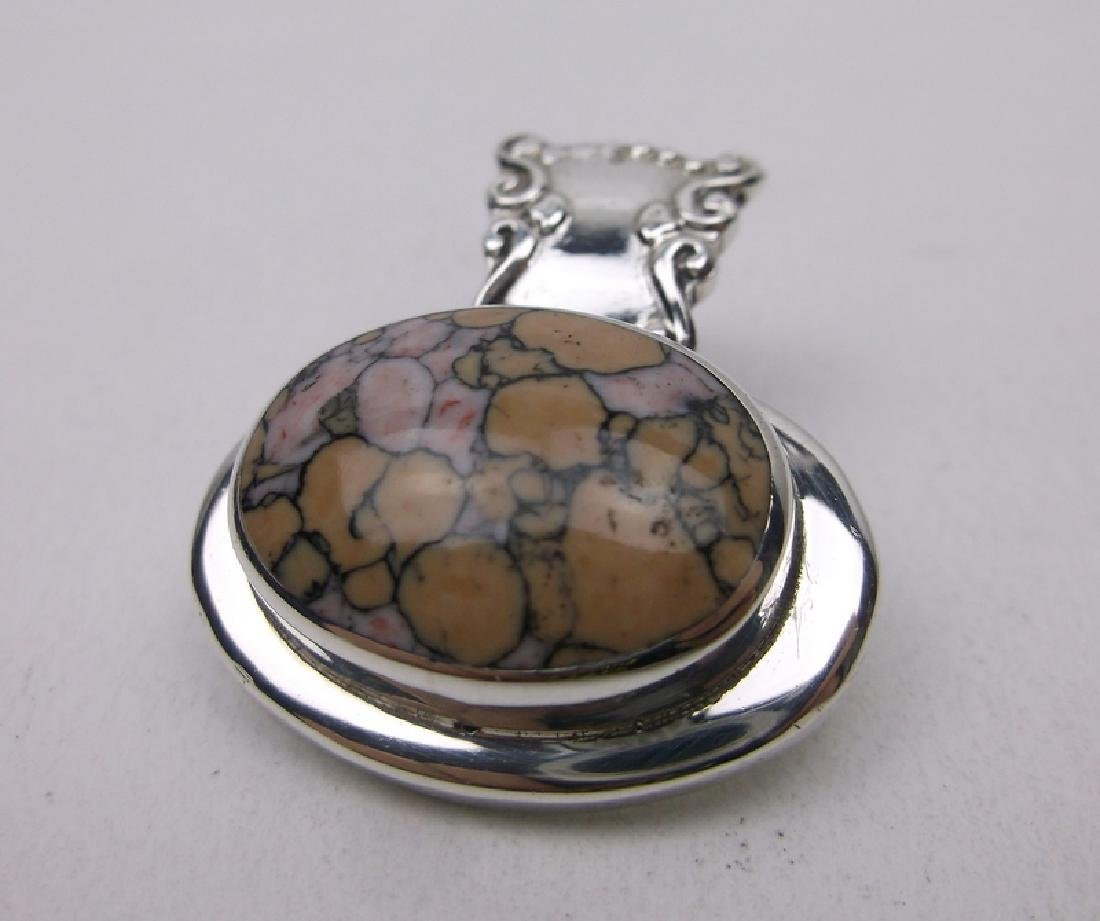 Stunning Sterling Silver Lapis Pendant Heavy Thick