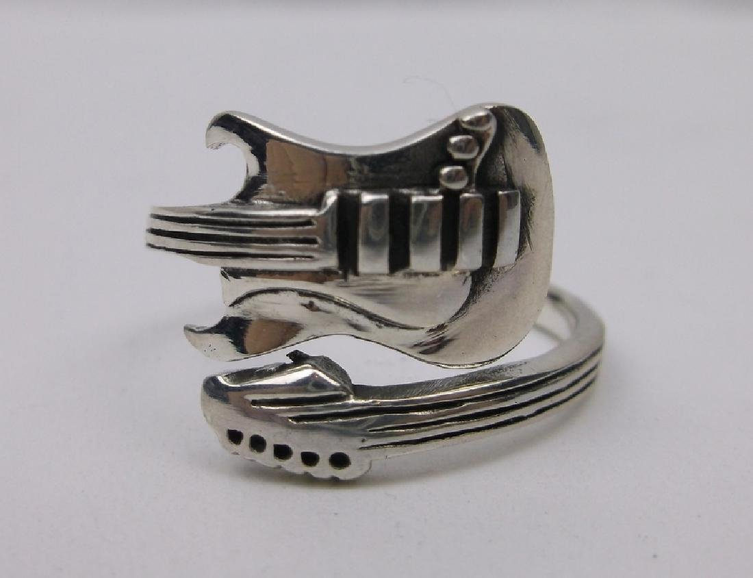 Stunning Sterling Electric Guitar Rock Ring 10