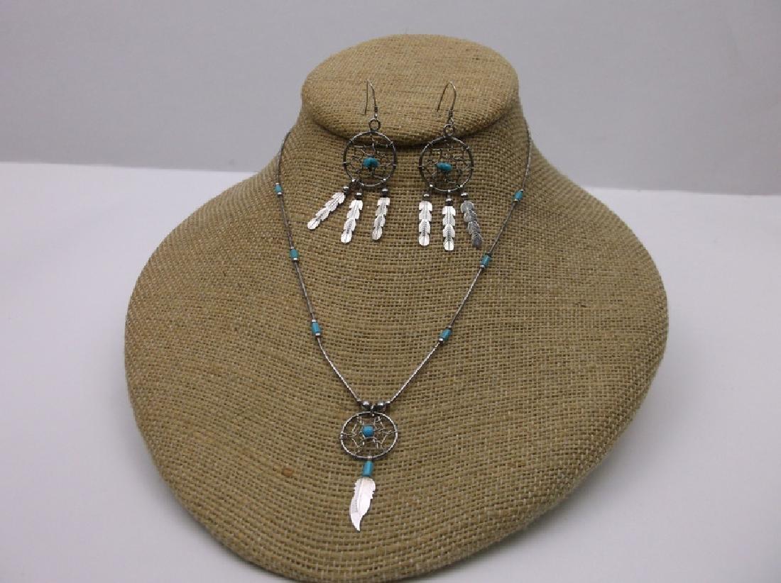 Navajo Sterling Dreamcatcher Necklace Earrings