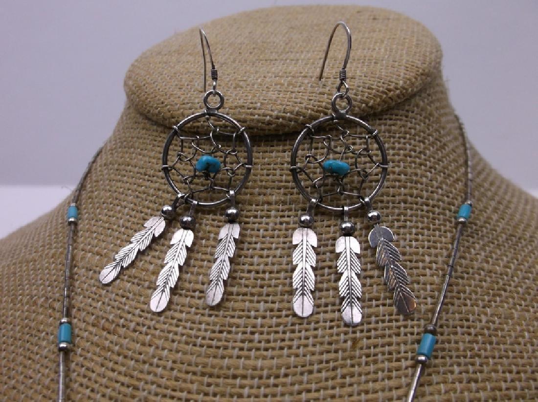 Navajo Sterling Dreamcatcher Necklace Earrings - 2
