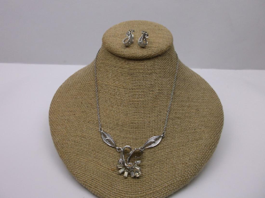 Antique Sorento Sterling Necklace Earrings Set