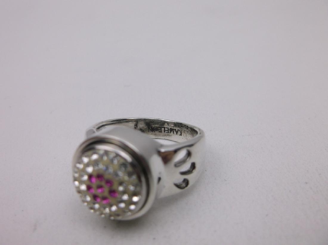 Stunning Sterling Pink White Stone Ring 7 - 2