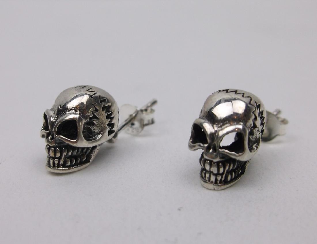Stunning Large Sterling Silver Skull Earrings