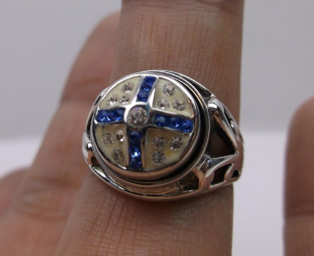Stunning Sterling Silver Blue Stone Ring 7.5