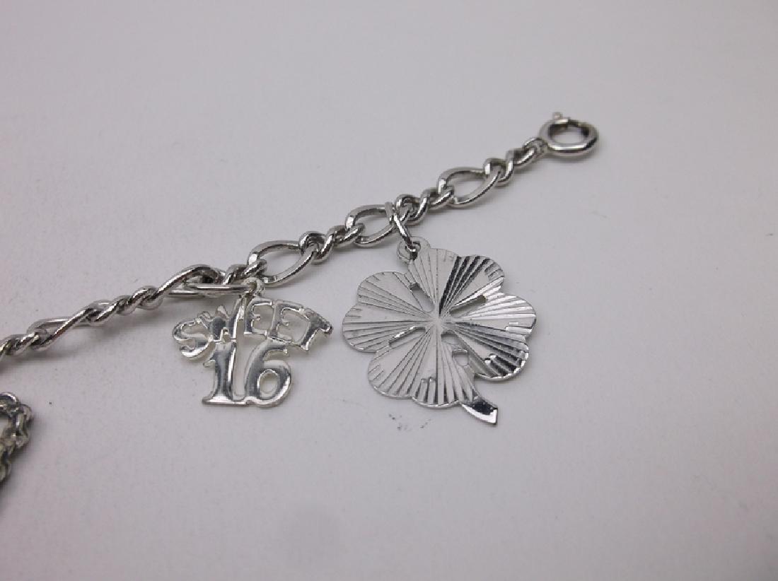 Stunning Wells Sterling Loaded Charm Bracelet - 3