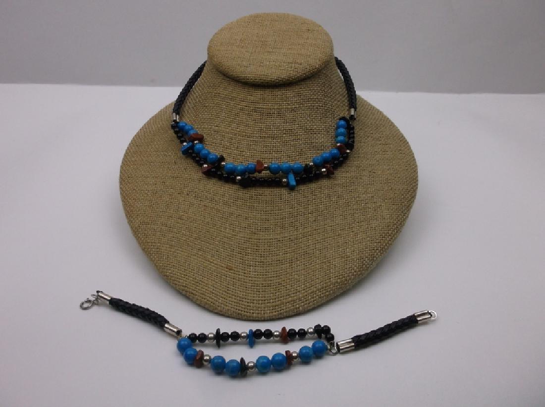 New Sterling Turquoise Lapis Necklace Bracelet Set