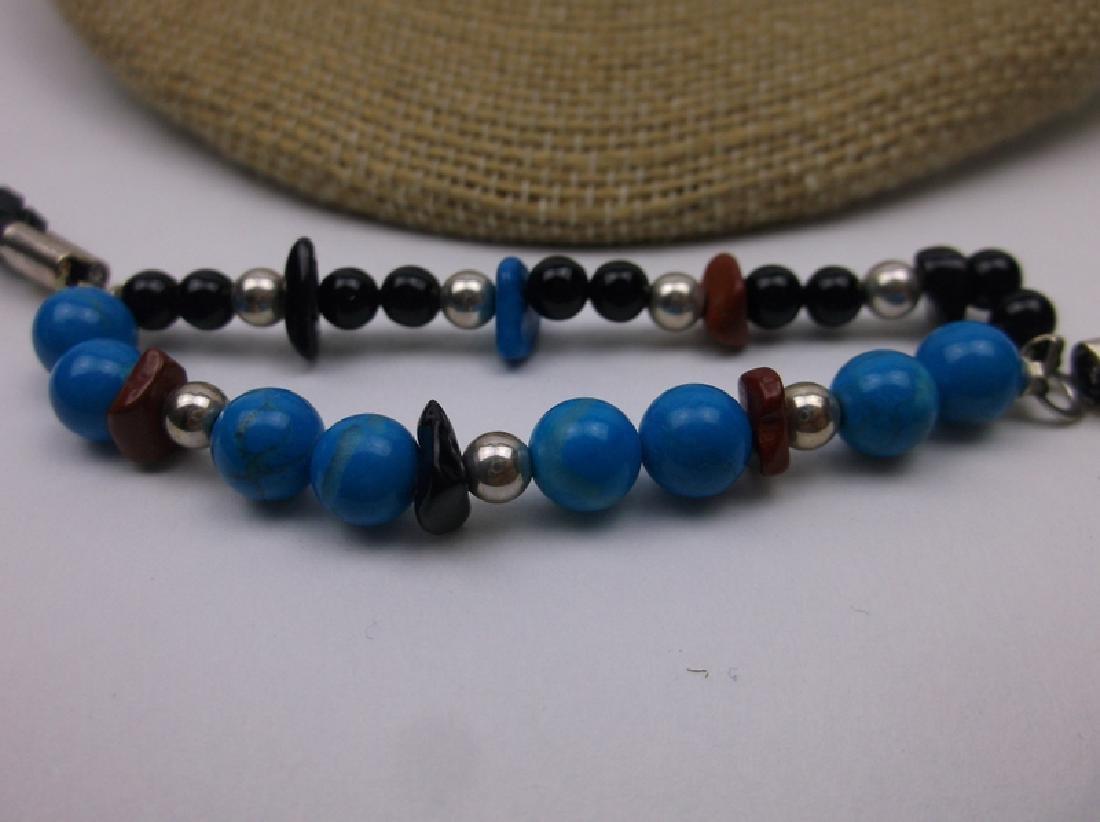 New Sterling Turquoise Lapis Necklace Bracelet Set - 2