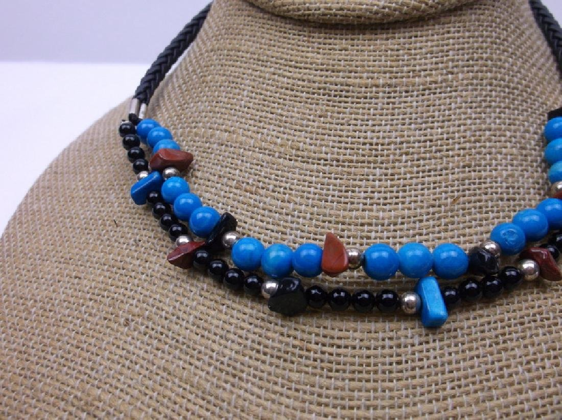 New Sterling Turquoise Lapis Necklace Bracelet Set - 3