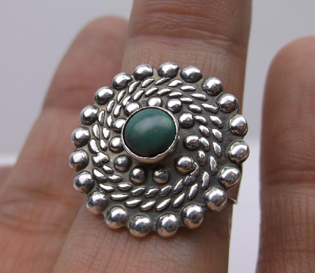 Gorg Old Pawn Sterling Turquoise Ring 8 1950s