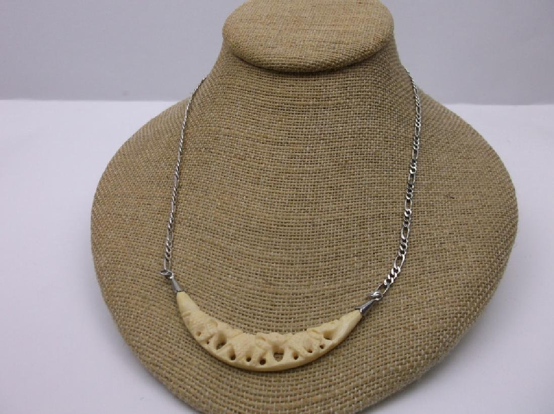 Stunning Sterling Silver Necklace Long Pendant