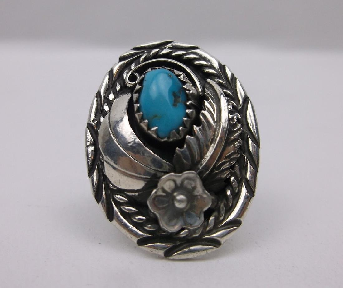 Stunn Navajo Sterling Turquoise Ring 5 Signed J