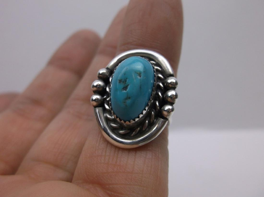 Navajo Sterling Silver Turquoise Ring Signed ME 5.25