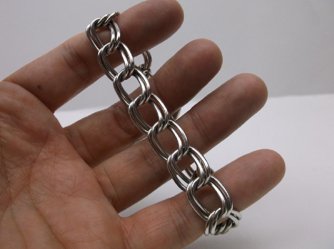 """Huge Sterling Silver Chain Bracelet 8"""" Heavy - 2"""