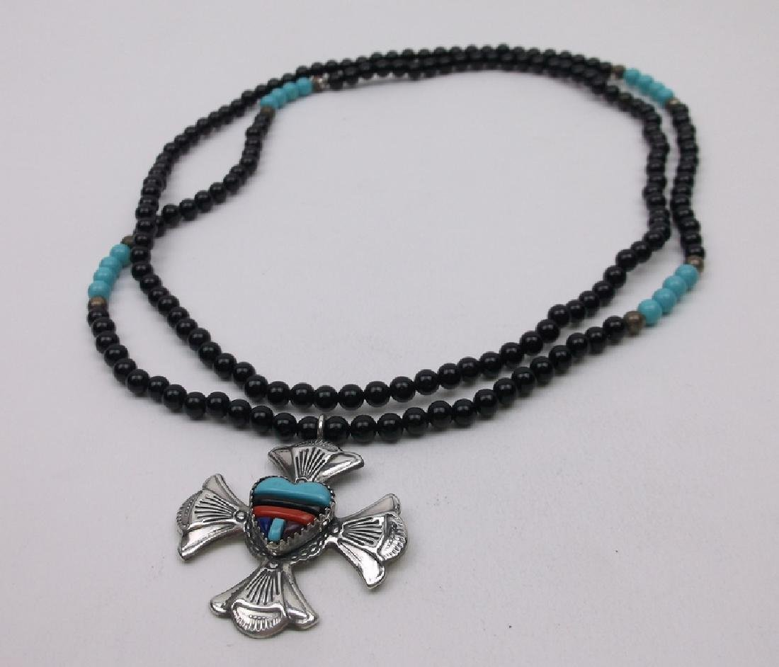 Navajo Sterling Turquoise Coral Onyx Necklace 30""