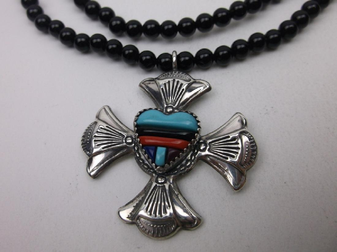 "Navajo Sterling Turquoise Coral Onyx Necklace 30"" - 2"