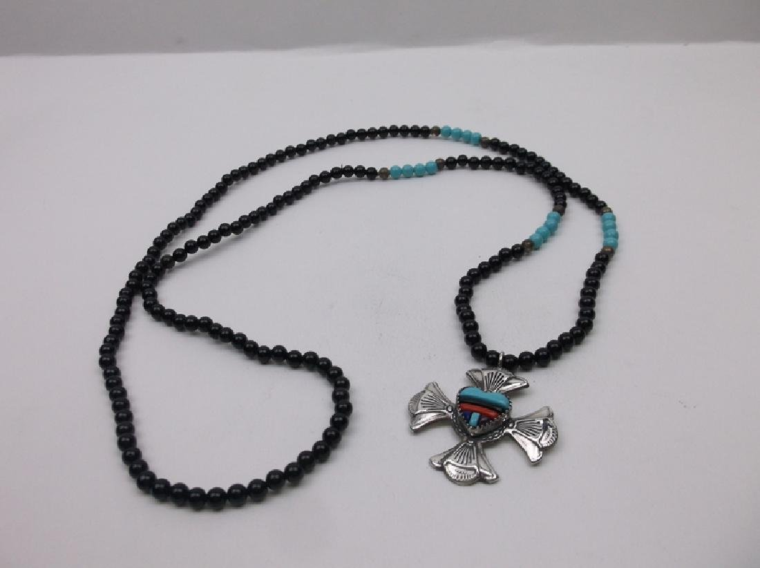 "Navajo Sterling Turquoise Coral Onyx Necklace 30"" - 3"