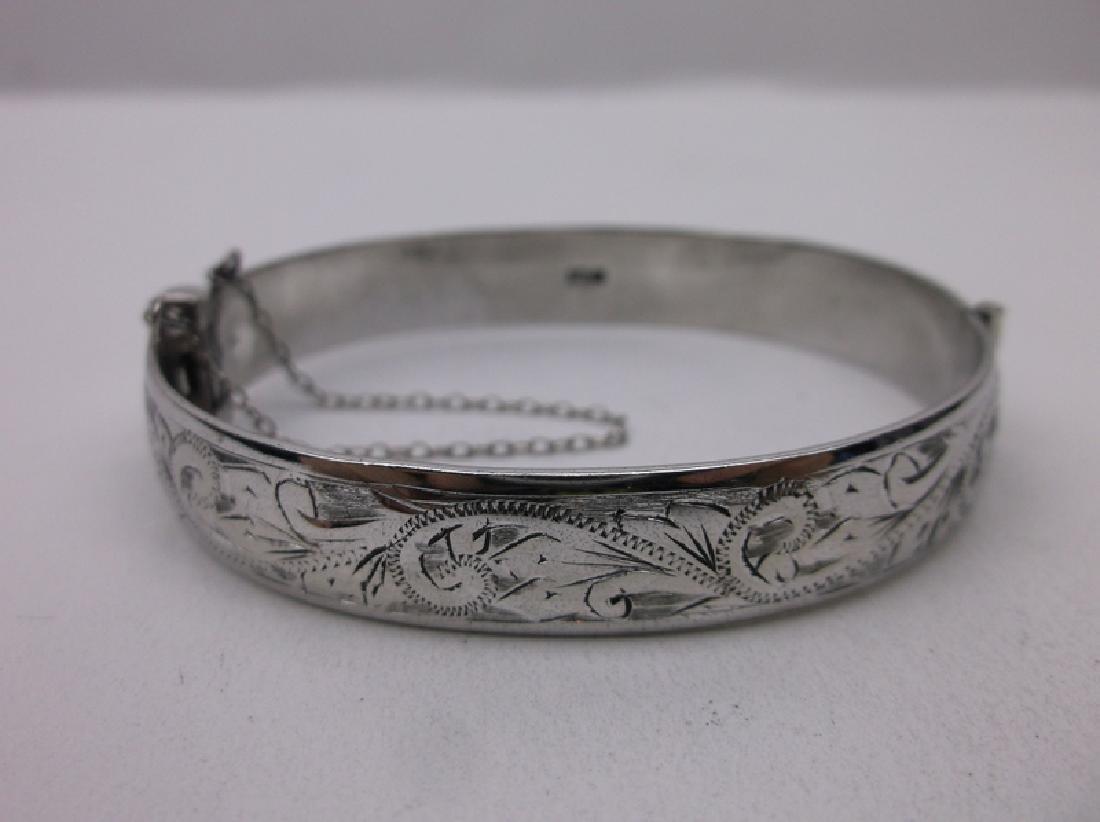 Antique English Sterling Bangle Bracelet Heavy