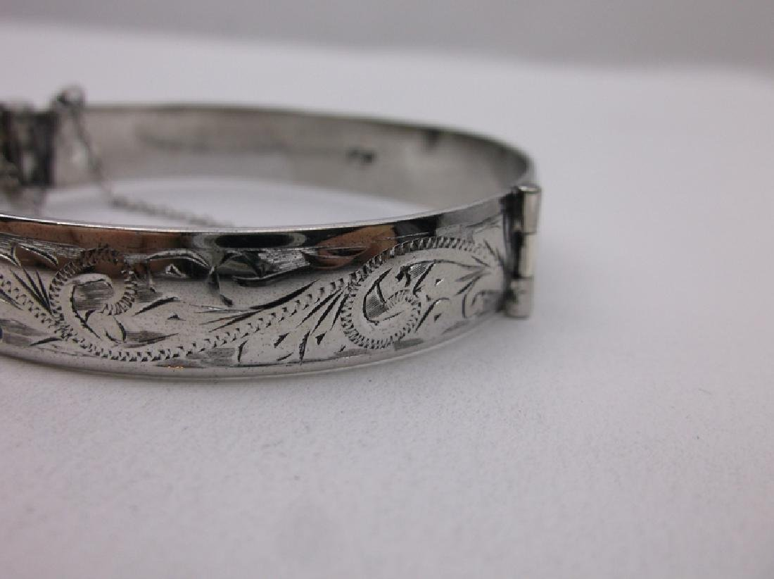 Antique English Sterling Bangle Bracelet Heavy - 2