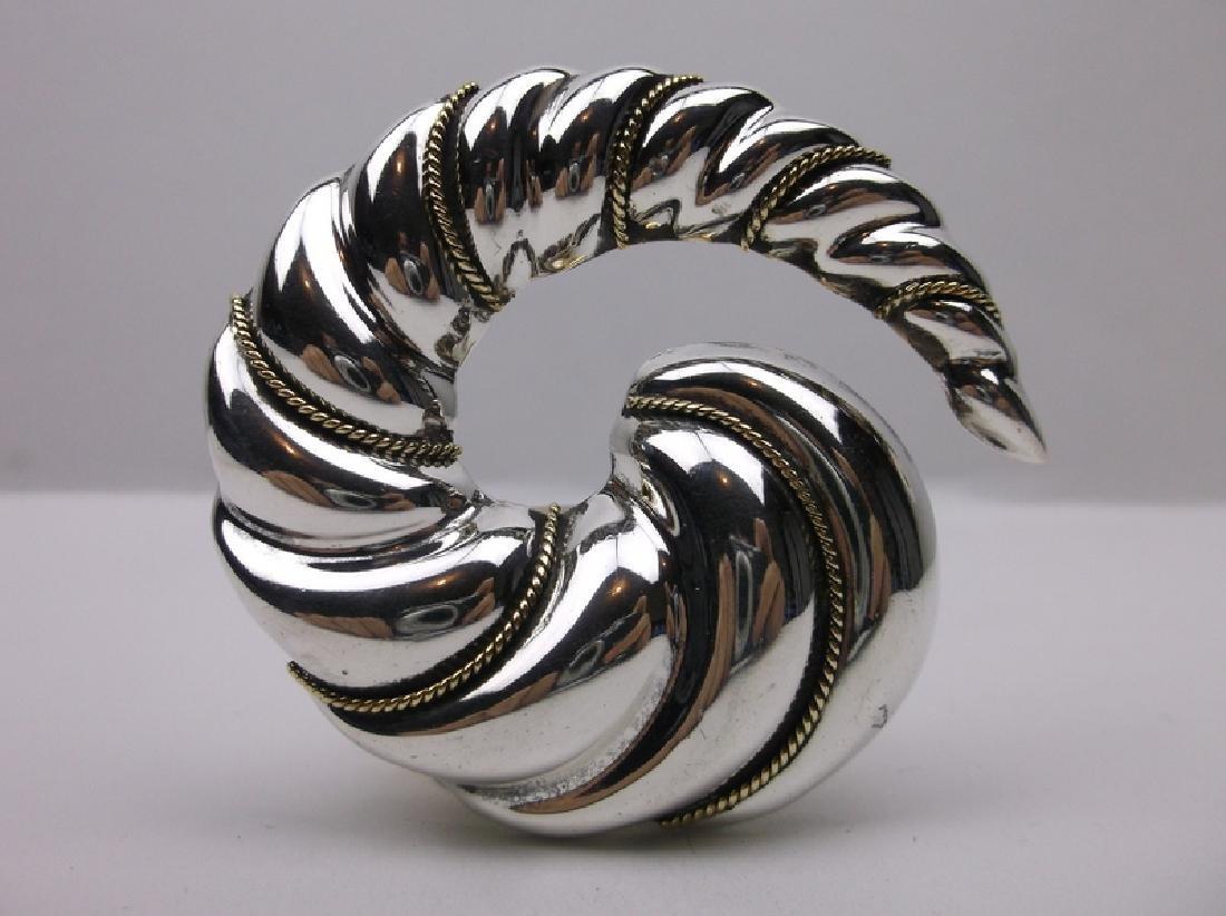 Antique Taxco Sterling Laton Swirl Pend Brooch Huge