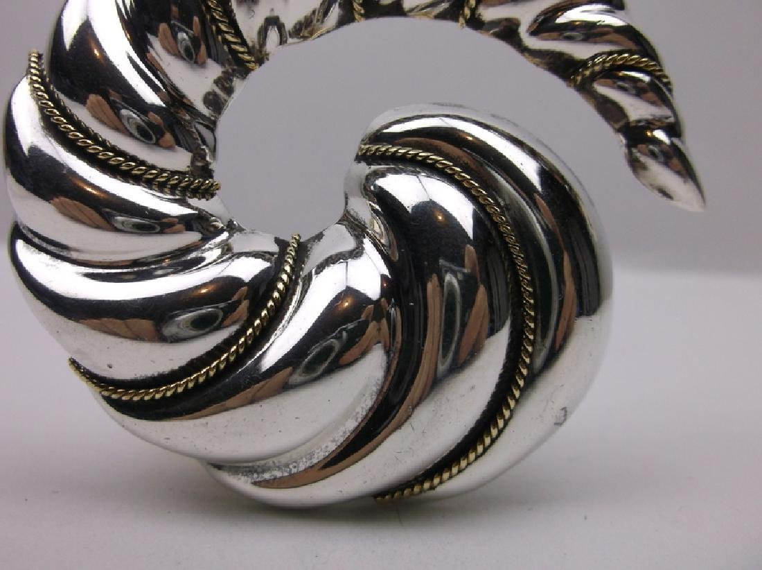 Antique Taxco Sterling Laton Swirl Pend Brooch Huge - 2