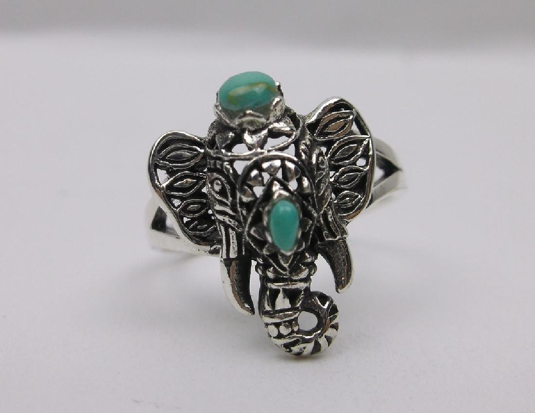 Stunning Bali Sterling Turquoise Elephant Ring 7