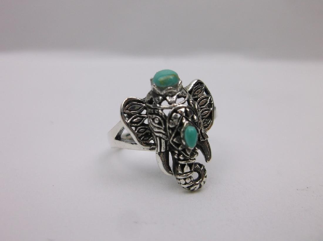 Stunning Bali Sterling Turquoise Elephant Ring 7 - 2