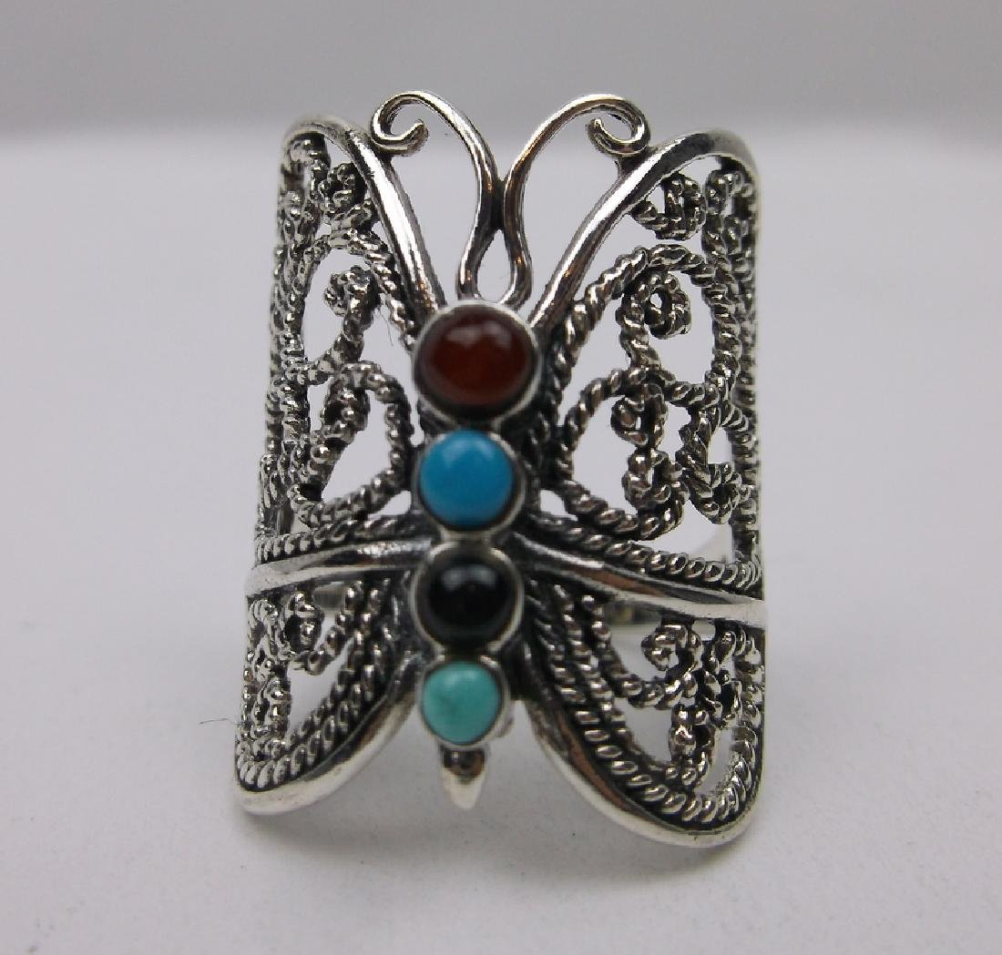 Sterling Silver Turquoise Butterfly Ring 7 Stunning