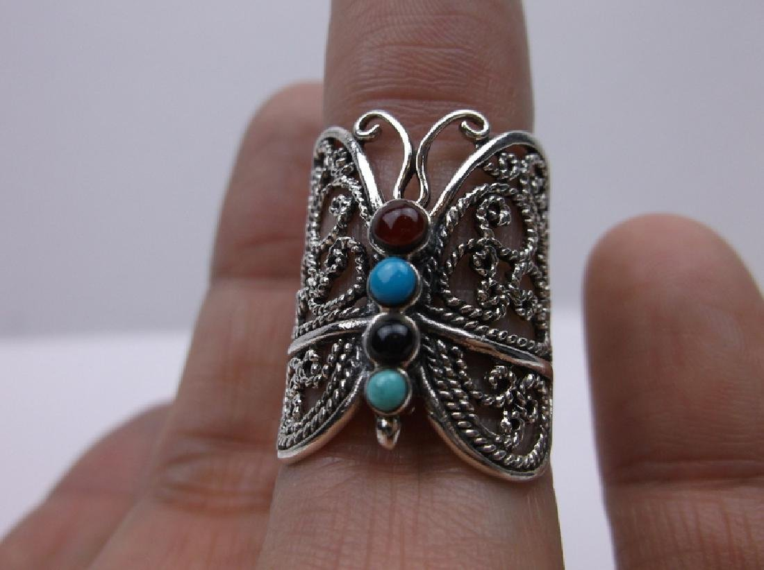 Sterling Silver Turquoise Butterfly Ring 7 Stunning - 2