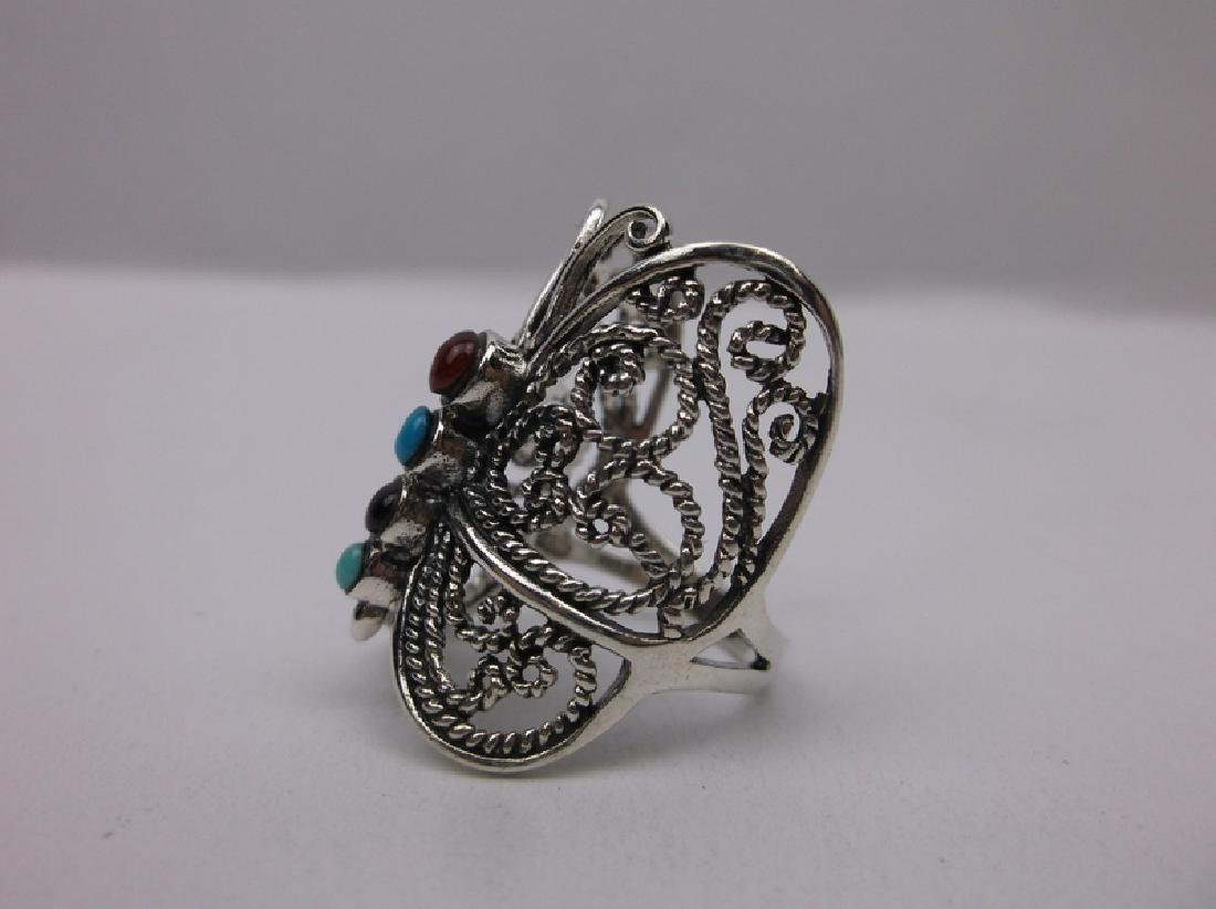 Sterling Silver Turquoise Butterfly Ring 7 Stunning - 3