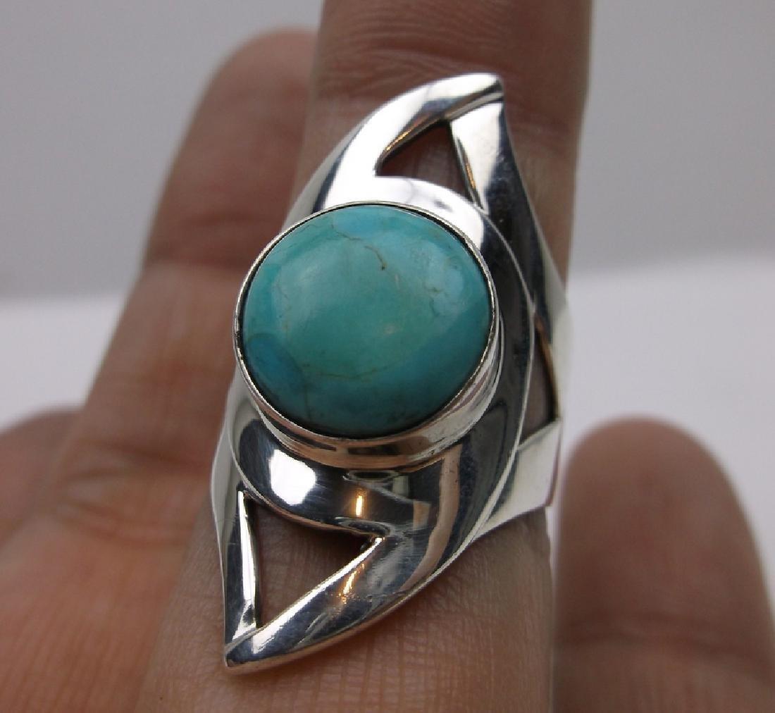 DTR Sterling Silver Turquoise Ring 7.75 Desert Rose