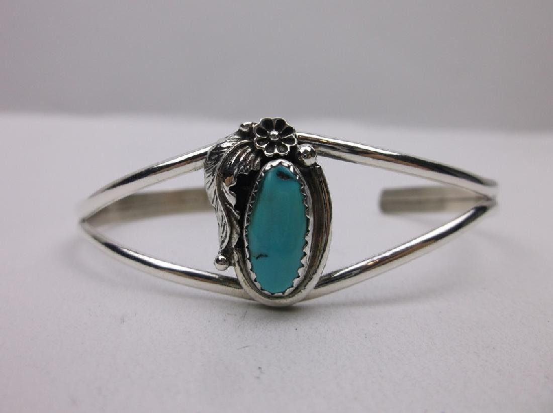 John Whitaker Navajo Sterling Turquoise Bracelet Cuff