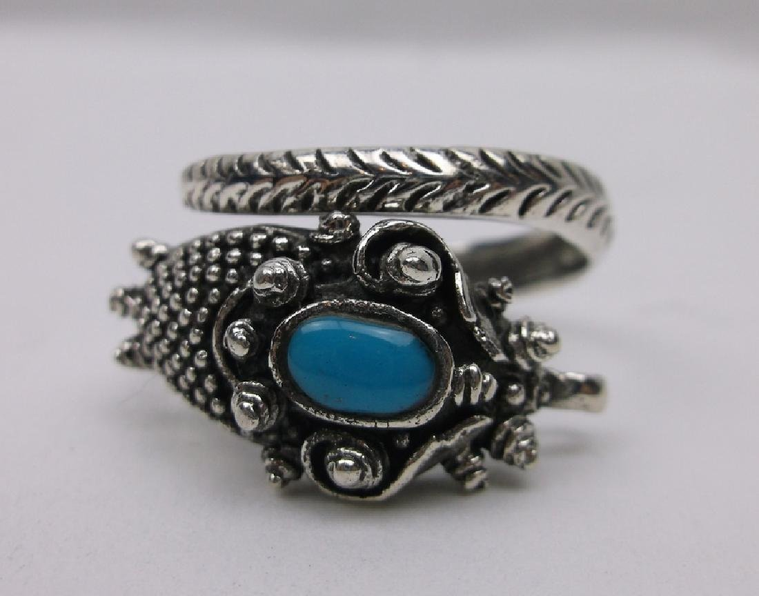 Huge Sterling Silver Turquoise Dragon Wrap Ring 11