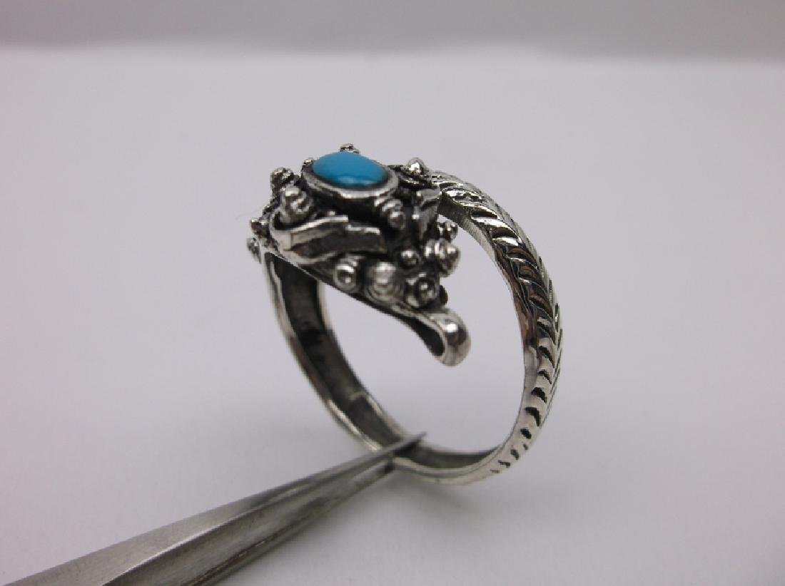 Huge Sterling Silver Turquoise Dragon Wrap Ring 11 - 2