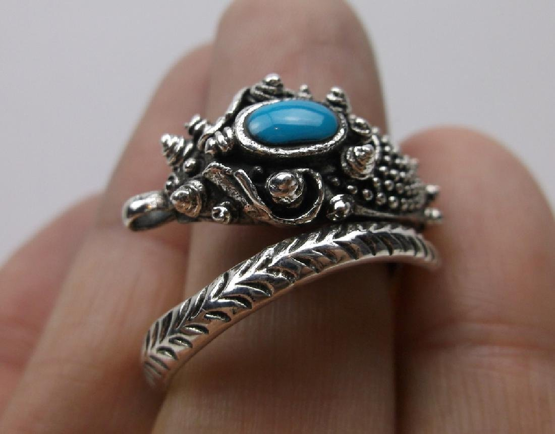 Huge Sterling Silver Turquoise Dragon Wrap Ring 11 - 3