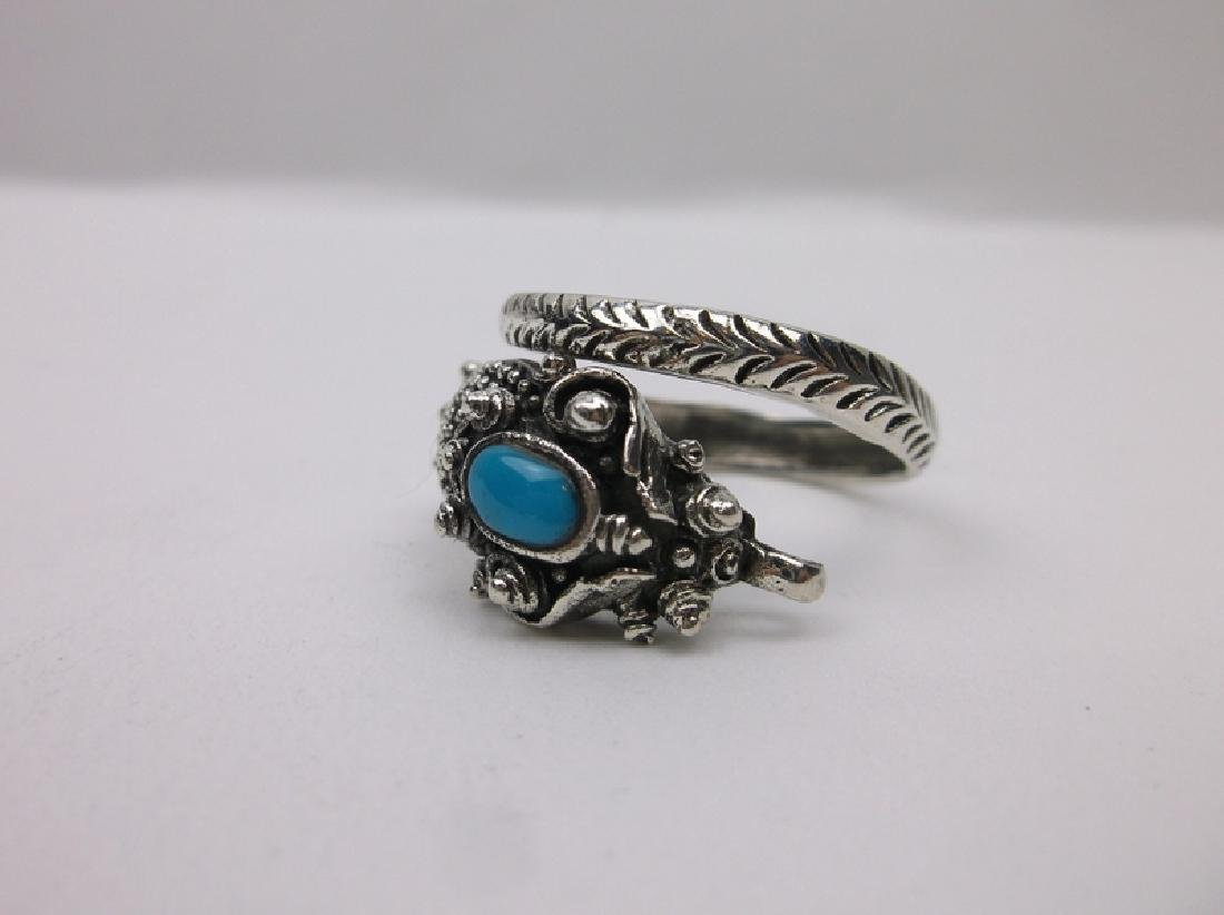 Huge Sterling Silver Turquoise Dragon Wrap Ring 11 - 4