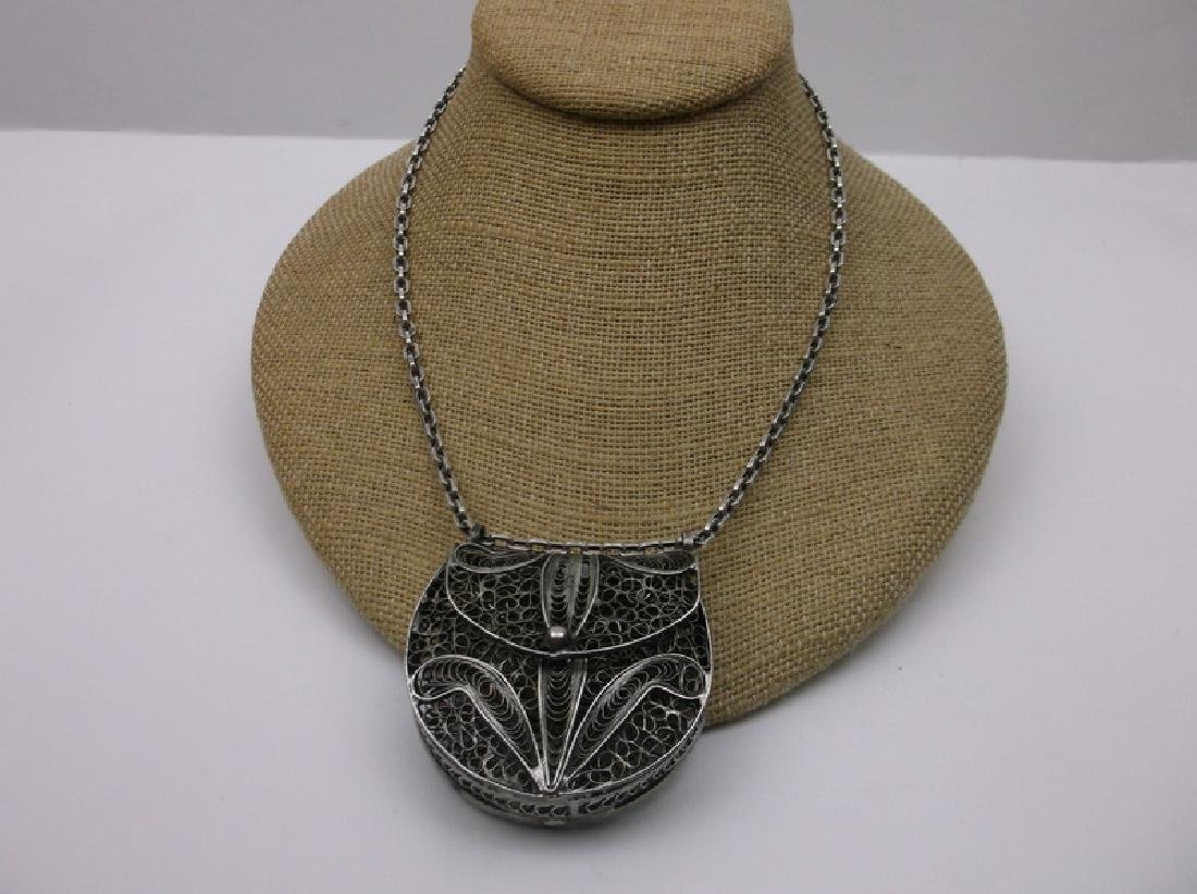 Huge Sterling Silver Filigree Purse Necklace Heavy