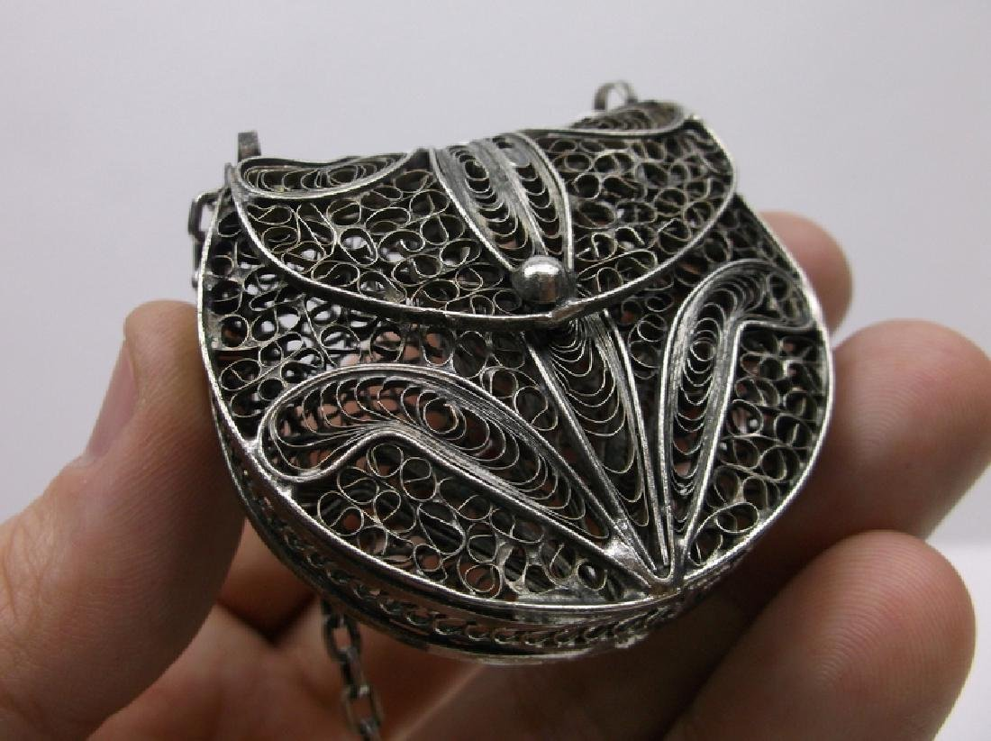 Huge Sterling Silver Filigree Purse Necklace Heavy - 2
