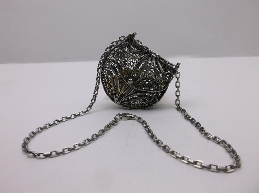 Huge Sterling Silver Filigree Purse Necklace Heavy - 5