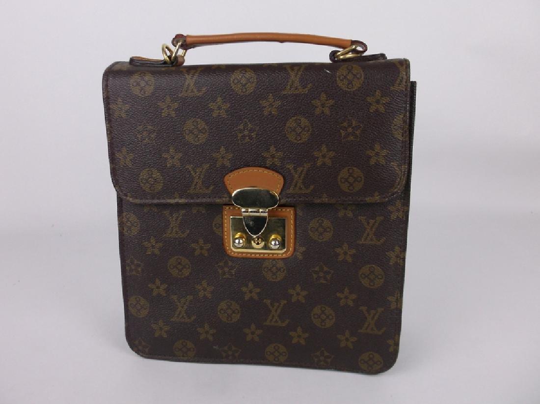 Gorgeous Louis Vuitton Leather Handbag Purse Side Opens