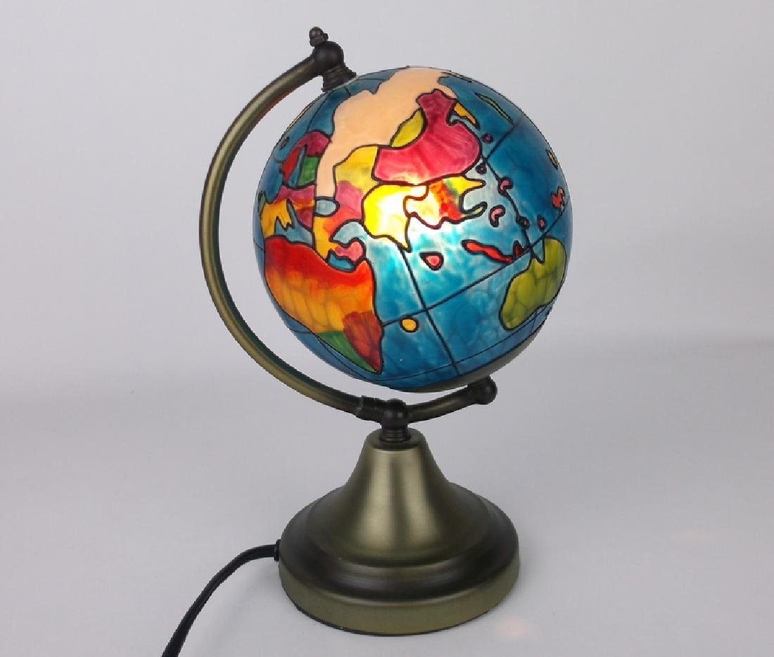 Gorgeous World Globe Stained Glass Lamp