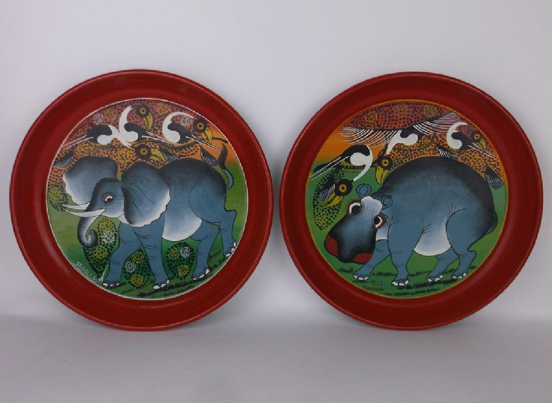 2 Hand Painted Elephant Hippo Tins Abdallah