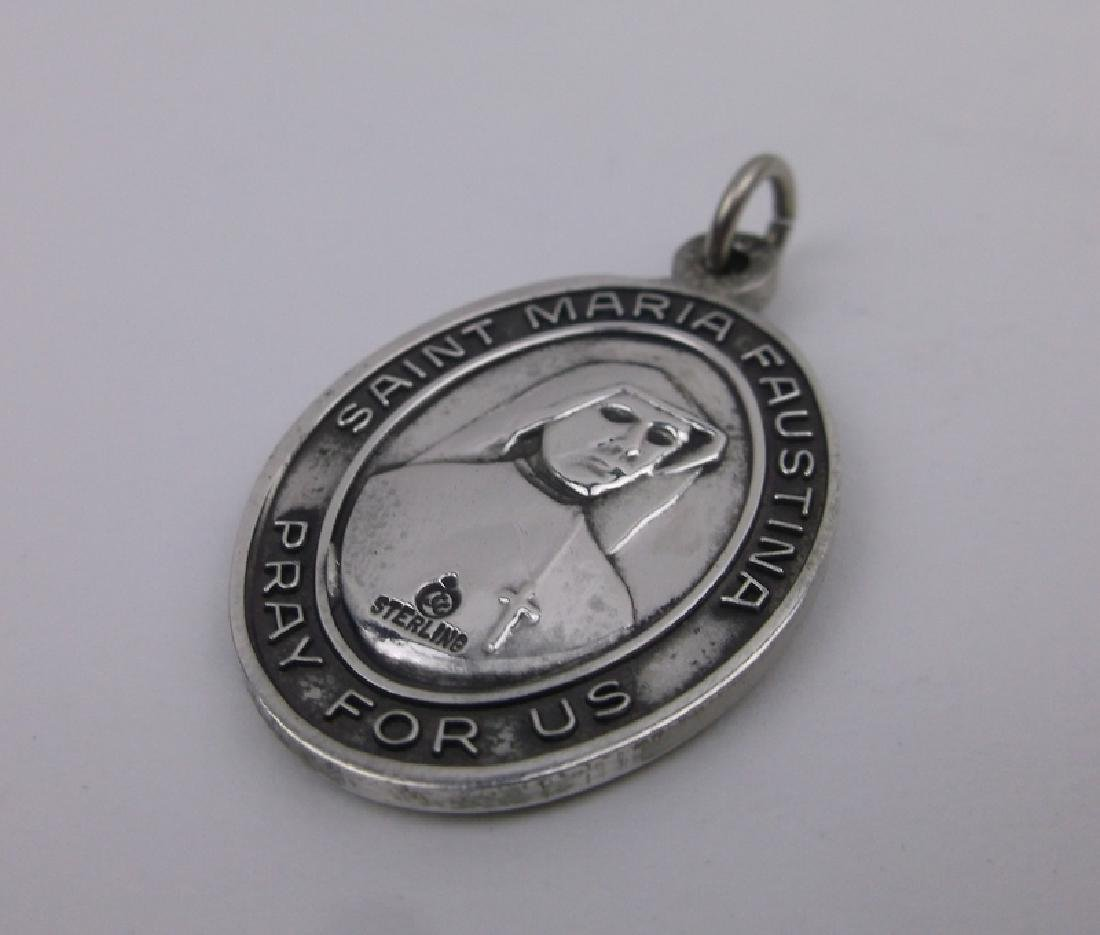 Heavy Antique Sterling St Faustina Pendant