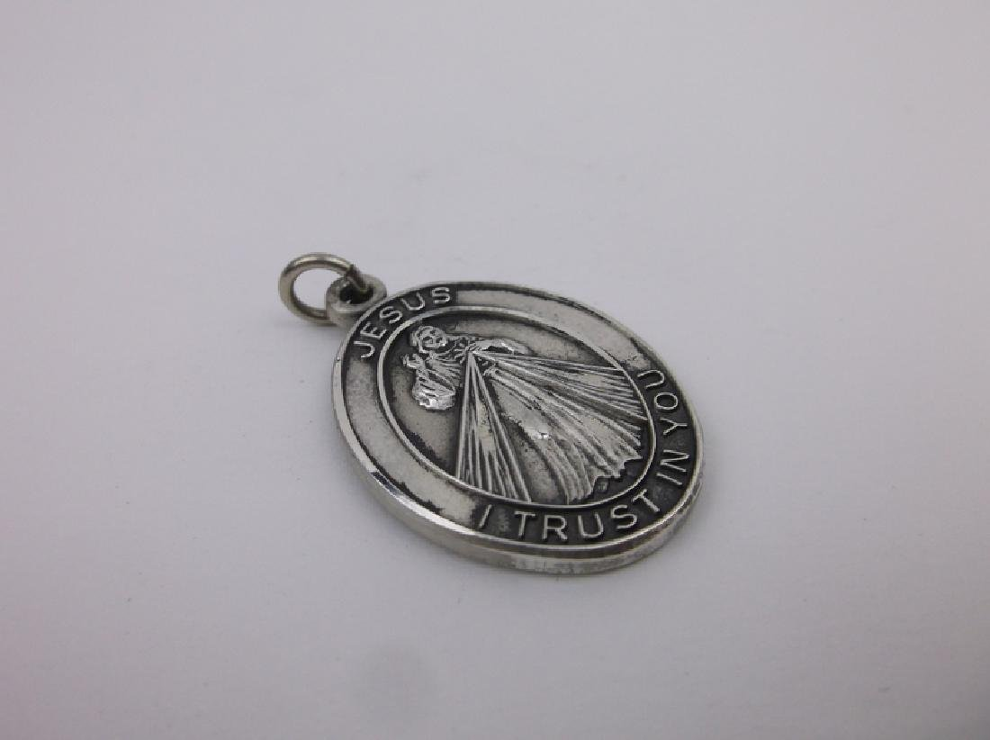 Heavy Antique Sterling St Faustina Pendant - 2