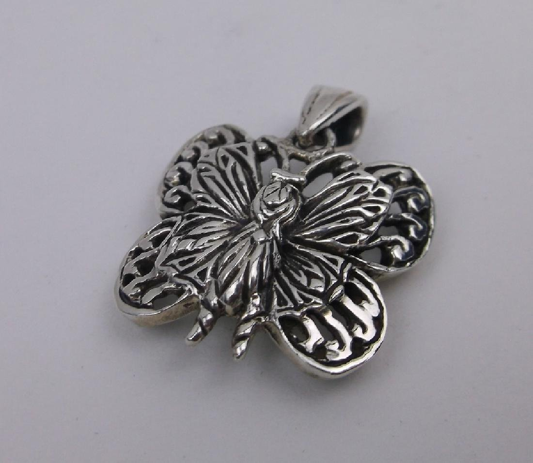 Stunning Sterling Silver Butterfly Pendant Thick