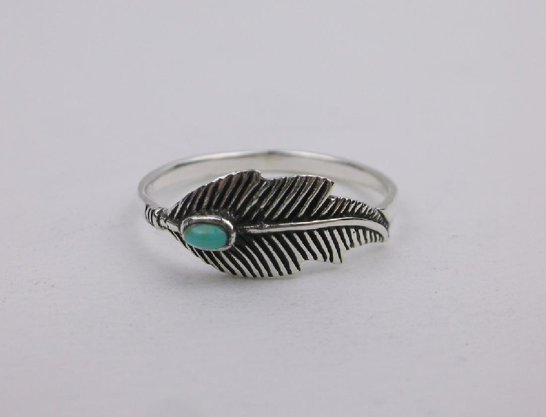Stunning Sterling Turquoise Feather Ring 7
