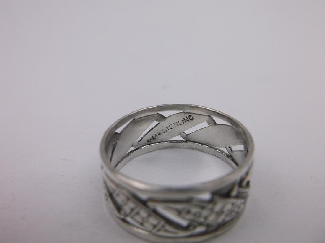 Stunning Antique Sterling Silver Band Ring 7 - 2